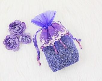 Luxury purple beaded lavender sachet. (Vegan)