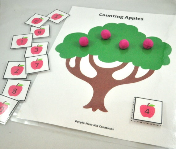 Counting Apples Playdough Mat Fall Activity Autumn Activity