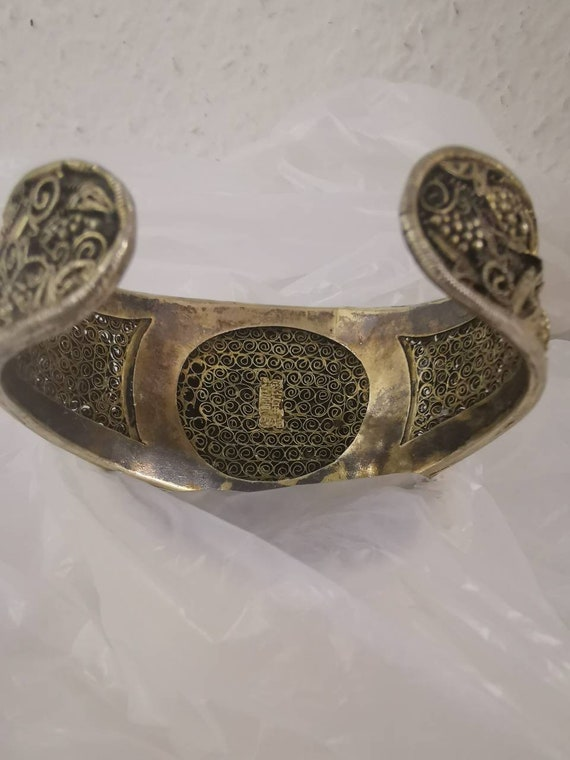 Vintage Ornate Chinese Sterling Silver Bracelet ~ AGATE Stone
