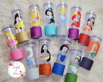 Disney Princess Glitter Skinny Tumbler, Ariel, Jasmine, Cinderella, Moana, Elsa, Aurora, Belle, Rapunzel, Gift For Her, Personalized Gift