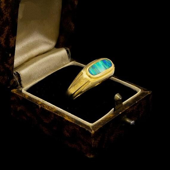 Australian Fire Opal Ring, Antique Opal Ring, 14K