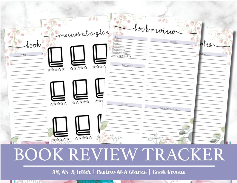 Book Review Tracker Journal Book Blogger