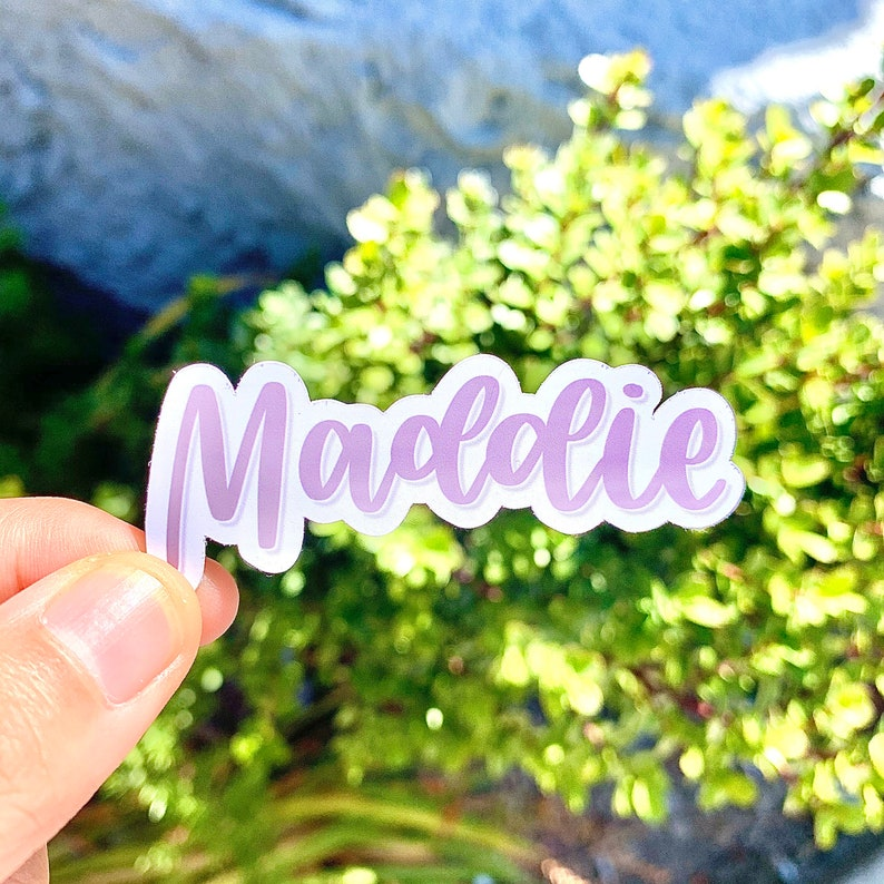customized hand lettered name  vinyl sticker