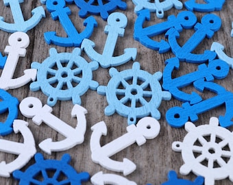10x Plastic Ship Steering Wheel Helm Nautical Jewellery Craft Charms Gold Silver