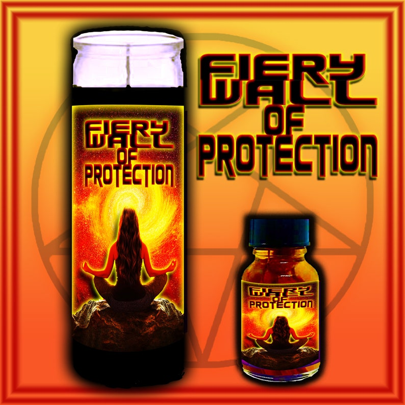 FIERY WALL of PROTECTION Spell Candles Witch Oil Spell Kit Candle & Oil Set