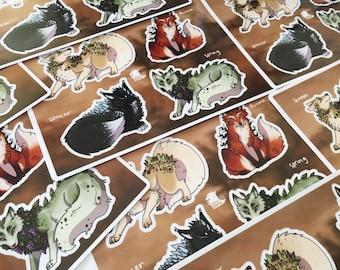 Seasonal Foxes - [ Stickerpage]