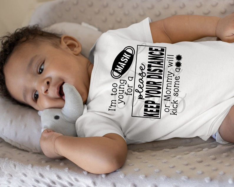 Quarantine Baby Bodysuit Keep Your Distance  Baby shower gift  New Mom gift  New Baby Gift