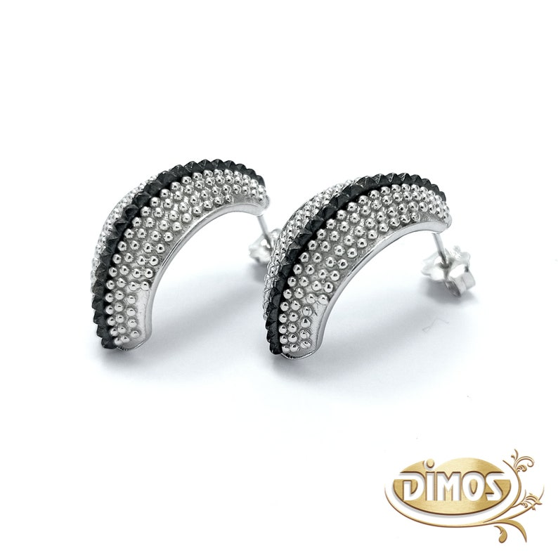 Perfect Gift for Her. Silver Semicircle White and Grey Dotted Earrings Handmade Bicolor Jewelry