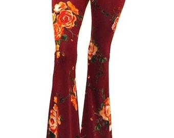 WOMEN Knit Stretch Boho Print Bell Bottoms Long Flare Pants Hippie ORANGE S M L