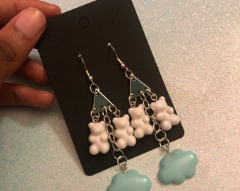 MADE TO ORDER White and Blue Charm Earrings/gummy bear + clouds mashup