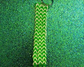 Loom Keychain - Green and White