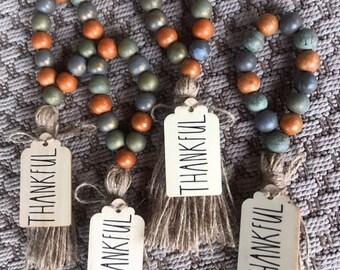 Fall napkin rings/orange/stained /gray beads/ farmhouse decor/ fall decor /table decor