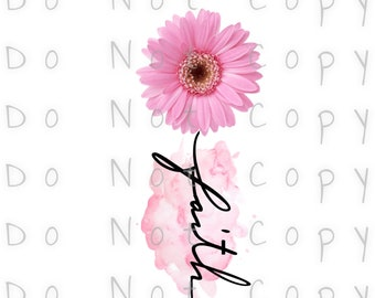 Faith Pink Sunflower Waterslide Decal - Perfect for Tumblers - Tumbler Supplies - Clear - White  - Laser Printed Decals