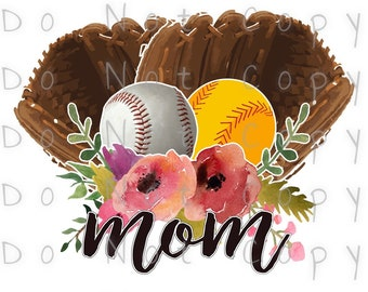 Baseball Softball Mom Glove Waterslide Decal - Perfect for Tumblers - Tumbler Supplies - Clear - White - Laser Printed Decals - Photo Decals
