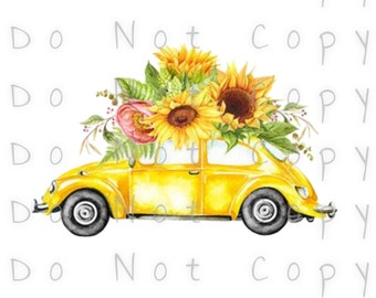 Yellow Beetle Car Floral Waterslide Decal - Perfect for Tumblers - Tumbler Supplies - Clear - White - Laser Printed Decals - Photo Decals