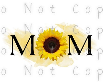 Mom Sunflower Watercolor Waterslide Decal - Perfect for Tumblers - Tumbler Supplies - Clear - White - Photo Decals - Laser Printed Decals