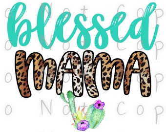 Blessed Mama Cactus Leopard Waterslide Decal - Perfect for Tumblers - Tumbler Supplies - Clear - White - Laser Printed Decals - Photo Decals