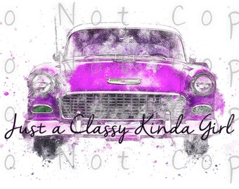 Just A Classy Kinda Gal Waterslide Decal - Perfect for Tumblers - Tumbler Supplies - Clear - White - Laser Printed Decals