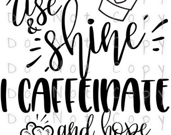 Rise Shine Caffeinate Hope For The Best Waterslide Decal - Perfect for Tumblers - Tumbler Supplies - Clear - White - Laser Printed Decals