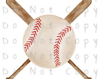 Baseball and Bats Waterslide Decal - Perfect for Tumblers - Tumbler Supplies - Clear - White - Laser Printed Decals - Photo Decals