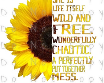 Wild And Free Sunflower Waterslide Decal - Perfect for Tumblers - Tumbler Supplies - Clear - White - Laser Printed Decals - Photo Decals