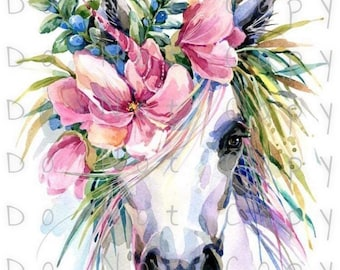 Floral Horse Unicorn Head Waterslide Decal - Perfect for Tumblers - Tumbler Supplies - Clear - White - Laser Printed Decals - Photo Decals