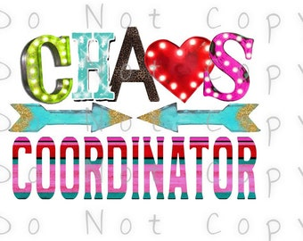 Chaos Coordinator Junky Waterslide Decal - Perfect for Tumblers - Tumbler Supplies - Clear - White - Photo Decals - Laser Printed Decals