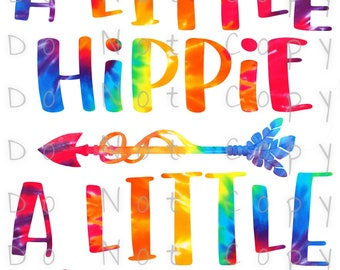A Little Hippie A Little Hood Waterslide Decal - Perfect for Tumblers - Tumbler Supplies - Clear - White - Photo Decal - Laser Printed Decal