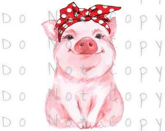 Pig in Bandana Watercolor Waterslide Decal - Perfect for Tumblers - Tumbler Supplies - Clear - White - Photo Decals - Laser Printed Decals