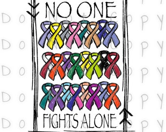No One Fights Alone Cancer Waterslide Decal - Perfect for Tumblers - Tumbler Supplies - Clear - White - Laser Printed Decals - Photo Decals
