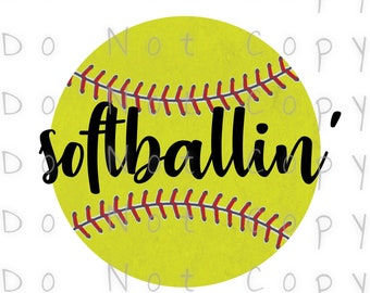 Softballin' Softball Waterslide Decal - Perfect for Tumblers - Tumbler Supplies - Clear - White - Laser Printed Decals - Photo Decals