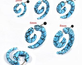 Acrylic fake Plug Stainless Surgical Steel cracks blue and orange 8mm