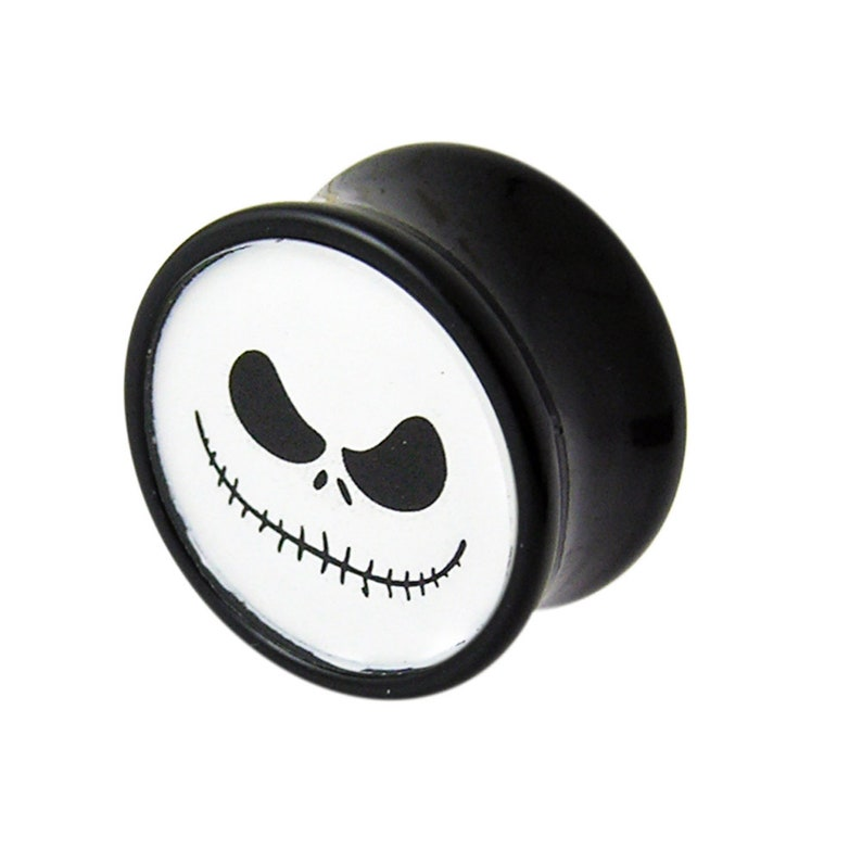 4mm-24mm Acrylic Gauges Ear Stretcher Skull Gauges Pair Skeleton Face Double Flared Ear Plugs Halloween Collection