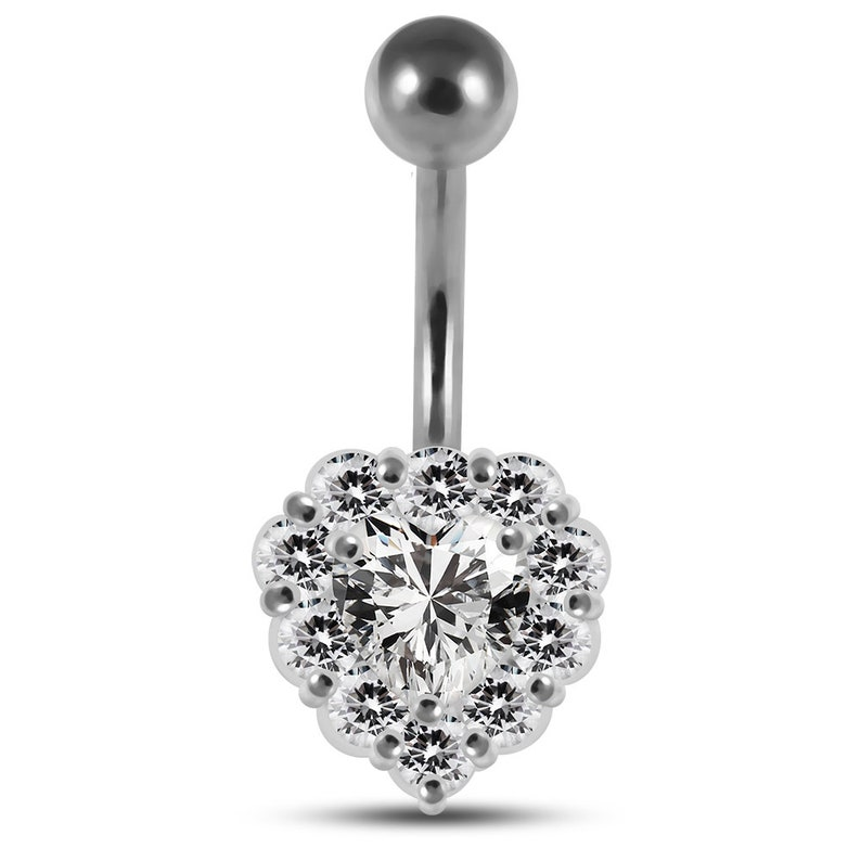 Multiple Colors Available Non-Moving Silver /& Steel Belly Button Rings Crystal Halo Heart Belly Ring 14G Navel Barbell