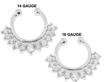 Fake Septum Clip-On Ring / Non Pierced Septum Jewelry / Gemstone Septum Ring/ faux septum ring / Surgical Steel Septum Ring /  14G and 16G