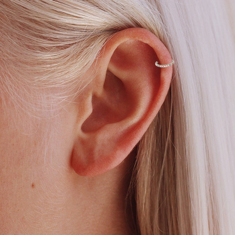 Titanium Gemstone Septum Ring Cartilage Hoop 16 Gauge Hoop Septum Clicker Helix Hoop Rook Ring Daith Ring