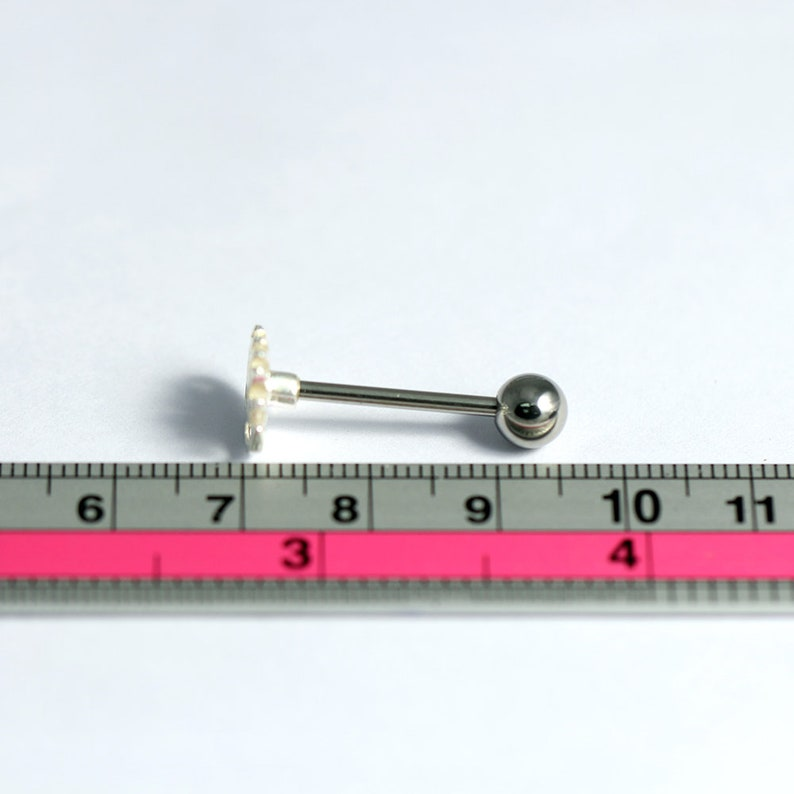 Sterling Silver Barbell Tongue Ring Tongue Piercing Ring Fire Tongue Bar 14G Barbell Available in Silver or Gold Plated