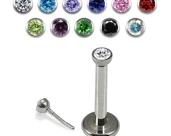 2mm Crystal Labret Stud- CZ Cartilage Earring/ Lip Labret- Surgical Steel Push Fit Flat Back Studs- 16 Gauge Stud