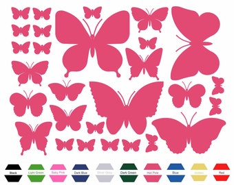 28 Butterfly Stickers Set Green Any Colour Laptop Glass Car Vinyl Wall Art