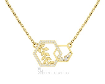 Diamond Hexagon Necklace in 14K Gold, Dainty Diamond Necklace, Unique Diamond Gold Pendant For Women, Geometric Jewelry, Anniversary Gifts