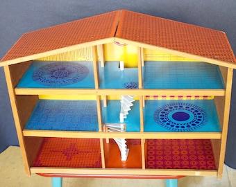 70s Vintage  OKWA-Dollhouse  Wood Printed Doll's House Modern Pop Art Dutch