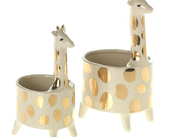 Gold and Cream Giraffe Pot - Small or Large