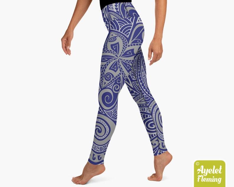 Navy blue gray floral gym leggings women Polynesian tribal yoga clothes Size XS-XL Hawaiian yoga leggings