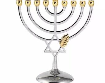 Hanukkah Menorah Silver Colour Full Size Non Tarnish - Jewish 9 Branch Candlestick Candle Holders Crismas Holy Land Gift Kosher Menorah