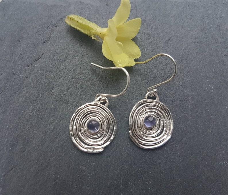 contemporary drop earrings iolite gemstone earrings Silver swirl drop earrings handmade in the UK