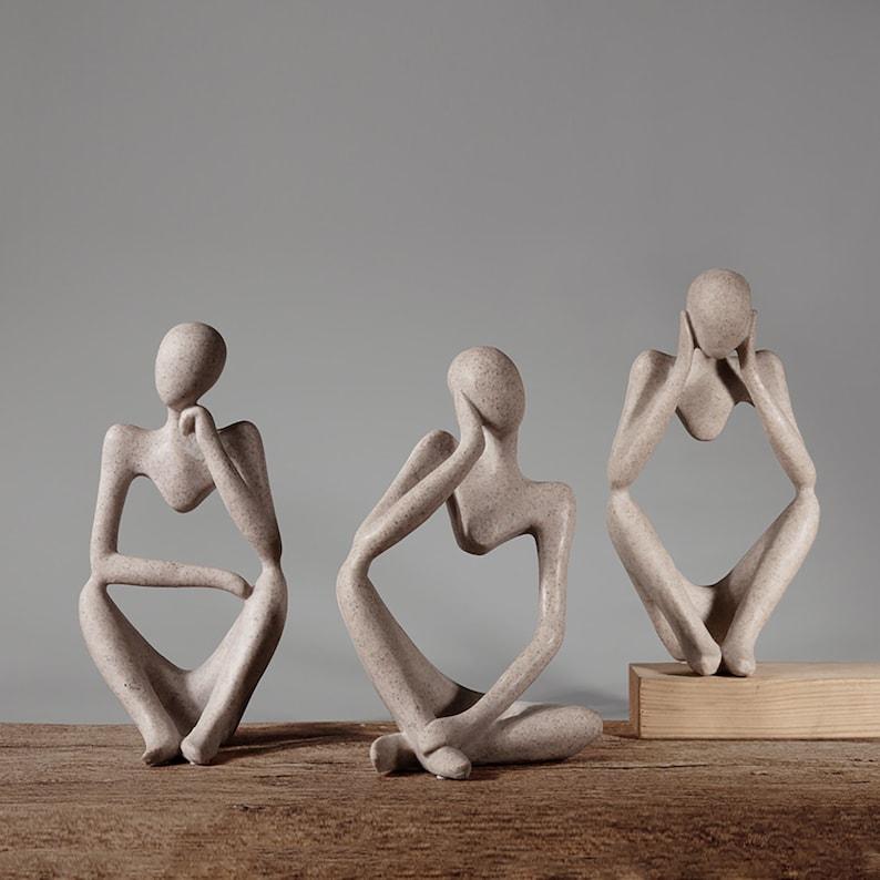 Abstract Thinker StatueThinker SculptureResin FigurineArt image 0