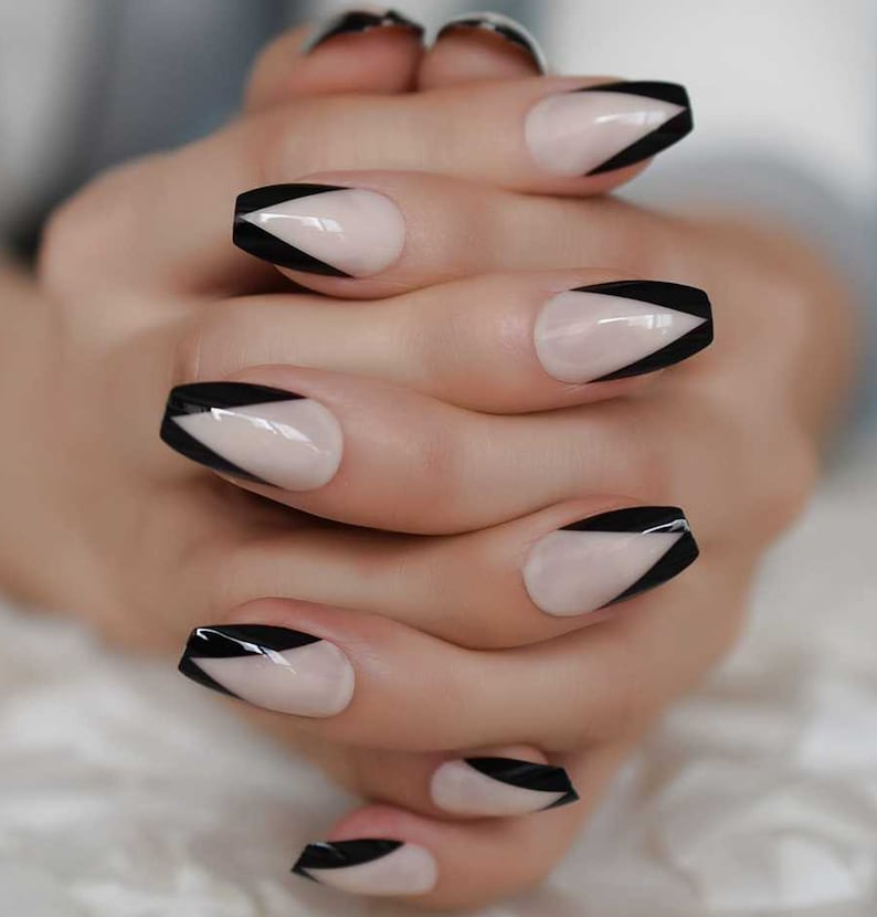 Black V cut Nude French Press On nails Coffin Nails Black