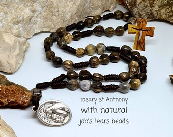 St Anthony Rosary Beads Rosary Light Brown Glass Beads Purse St Anthony Junction