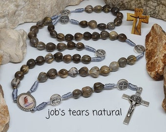 religious Jewelry Catholic gift Women men From Medjugorje Rosarious Holy SET 2 pcs Natural job/'s Tears seeds  Rosary 10 beads