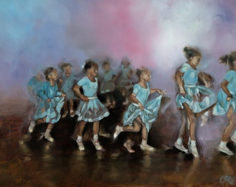 """Oil Painting Giclée Print Figurative Art Little Ballerinas 60 x 45cm """"Cross My Heart and Hope To Fly"""""""